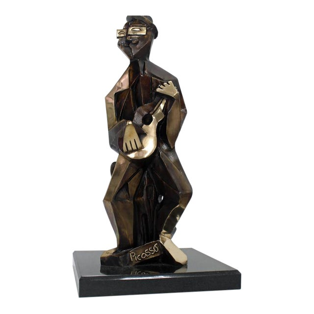 Bronze Abstract Guitarist Sculpture after Picasso Numbered For Sale