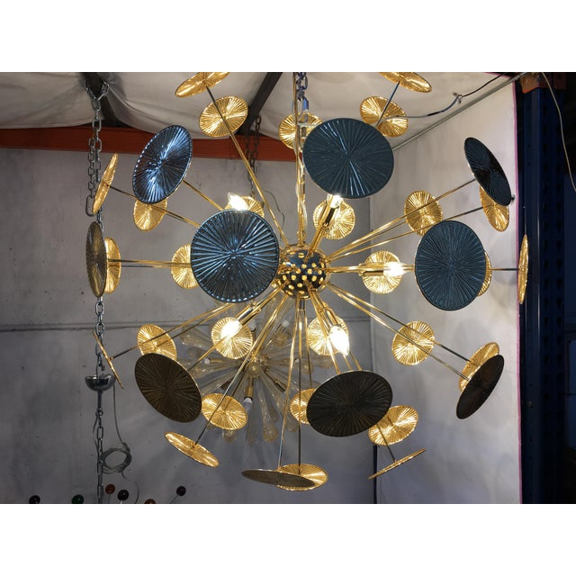Gold Early 21st Century Gold Metal Frame Sputnik Chandelier For Sale - Image 8 of 11