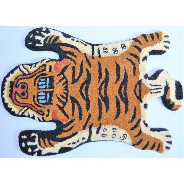 1990s 1990s Vintage Tibetan Tiger Hunting Shape Persian Rug- 2′ × 3′ For Sale - Image 5 of 6