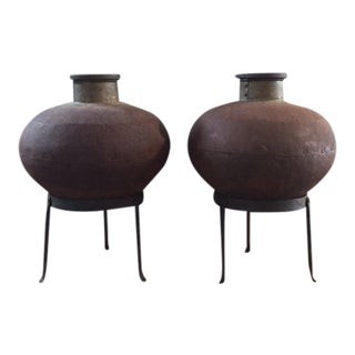 Brass and Iron Vessels on Stands - a Pair For Sale