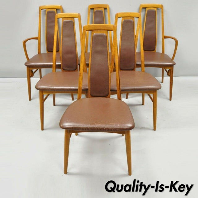 Koefoeds Hornslet Teak Mid Century Danish Modern Leather Dining Room Chairs  - Set of 6