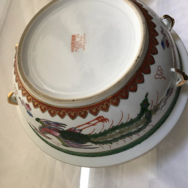 Vintage Chinese Dragon Phoenix Wedding Luck Tureen For Sale - Image 9 of 11