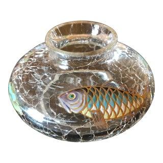 Moser Glass Enameled Sea Life Fish Vase For Sale