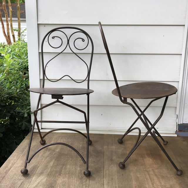 Vintage Iron Folding Chairs - A Pair - Image 2 of 6