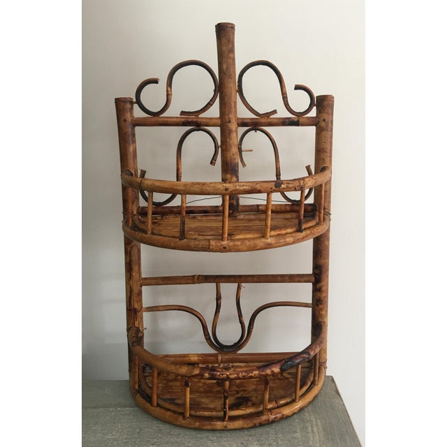 Vintage Chinoiserie Tortoise Shell Burnt Bamboo Wall Shelf For Sale - Image 10 of 10