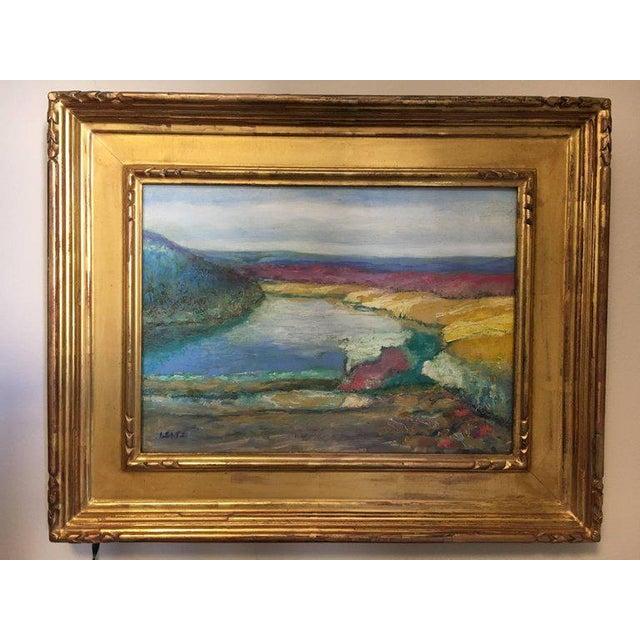 Gold Jeffrey Leitz Original Signed Painting Connecticut Landscape Abtract For Sale - Image 8 of 10