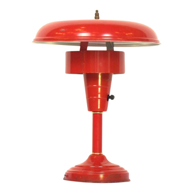 Red Atomic Table Lamp For Sale
