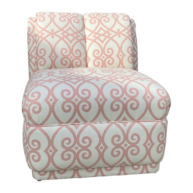 Fully upholstered rollback armless chair purchased at estate in Beverly Hills, California. No tags but believe it's by...