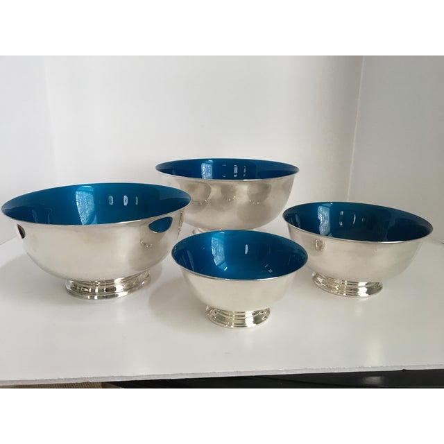 Mid-Century Modern Mid-Century Reed & Barton Silver-Plated Revere Bowls With Blue Enamel Interiors - Set of 4 Sizes For Sale - Image 3 of 13