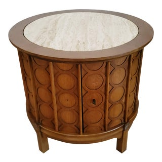 Thomasville Travertine Top Round Commode End Table For Sale
