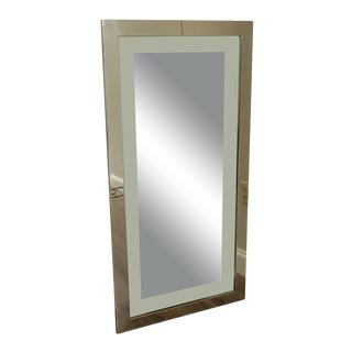 "Mid Century""Floating"" Mirror with 48"" x 24"" Chrome Frame For Sale"