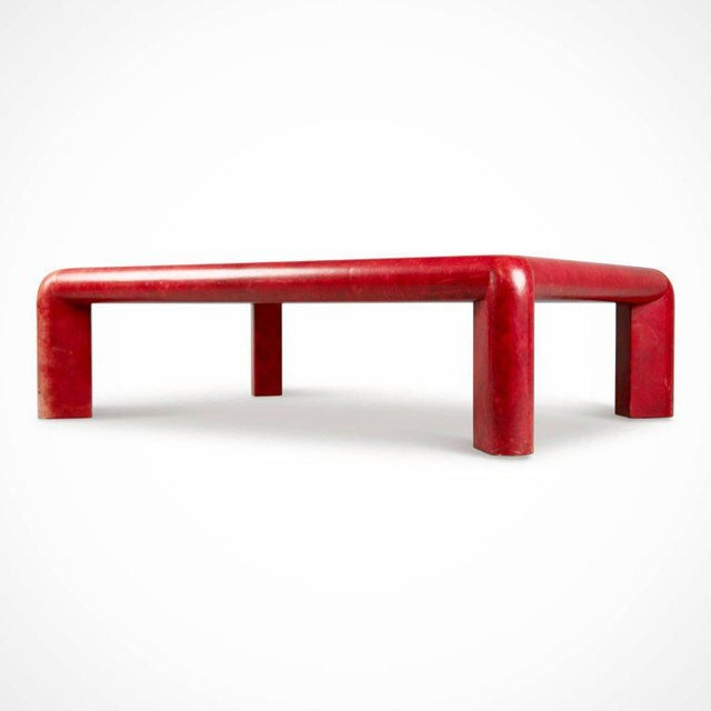 Contemporary Karl Springer Signed Lipstick Red Leather and Brass Cocktail Table, Dated 1984 For Sale - Image 3 of 11