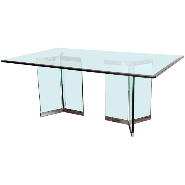 1970s Leon Rosen for Pace Collection Chrome & Glass Rectangular Dining Table For Sale - Image 10 of 10