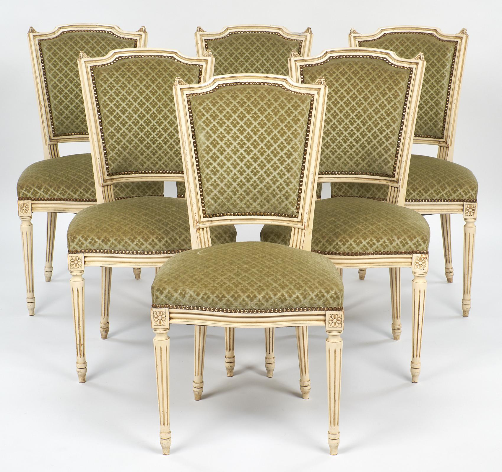 Delicieux Six Dining Chairs With Painted Louis XVI Style Wood Frames. All Of The  Chairs Have