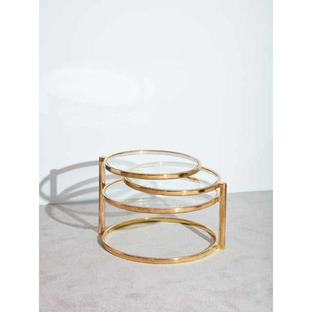 1970s Brass Swivel Coffee Table For Sale In New York - Image 6 of 6