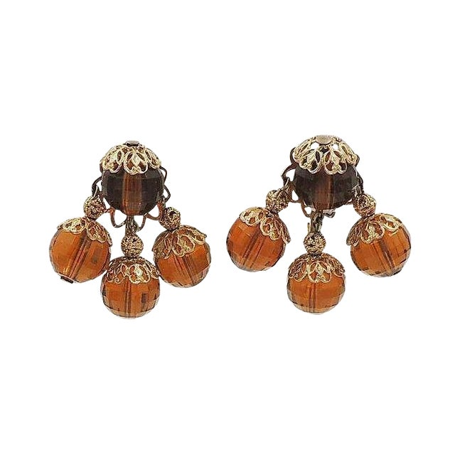 1950s Napier Brown Faceted Bead Earrings For Sale