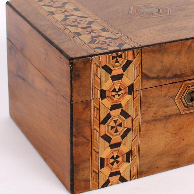 Metal 19th C. English Box With Exquisite Marquetry For Sale - Image 7 of 11