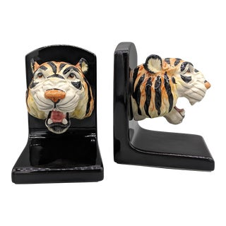 1980s Fitz and Floyd Tiger Head Bookends For Sale