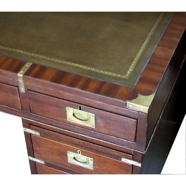 Campaign English Mahogany 9-Drawer Campaign Desk With Sage Leather Top For Sale - Image 3 of 6