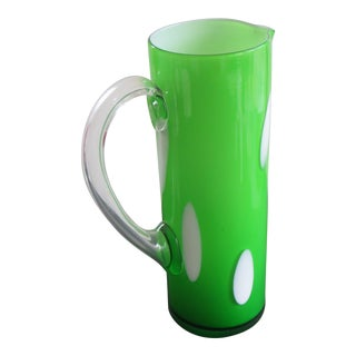 Art Glass Handmade Carafe Green With White Accents For Sale
