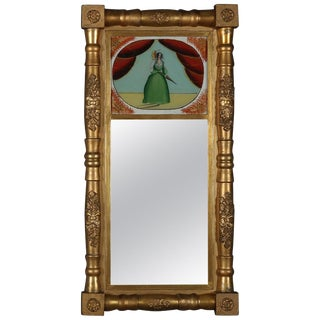 Antique Empire Giltwood Églomisé Portrait Trumeau Wall Mirror, Circa 1830 For Sale