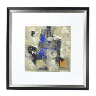 Modernist Abstract Forms Blue Oil Painting #4 by Canadian Artist Patrice Beckerich For Sale