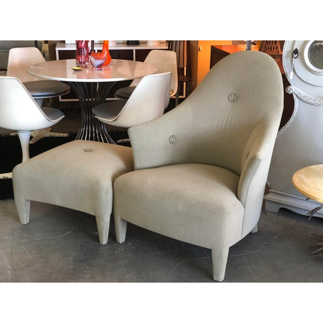 Phantom Chair and Ottoman by John Hutton with lovely rosette details in the original upholstery. It is rare to find the...