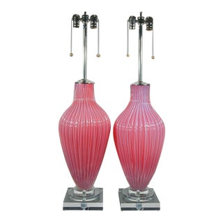 Marbro Murano Opaline Glass Table Lamps Pink Raspberry For Sale
