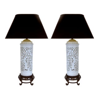 Asian Porcelain & Wood Table Lamps - A Pair For Sale