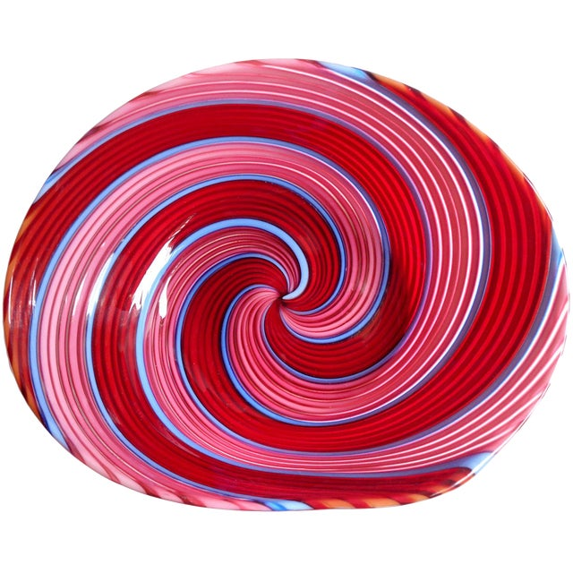 Dino Martens Aureliano Toso Murano Red, Pink, Blue Italian Art Glass Dish For Sale