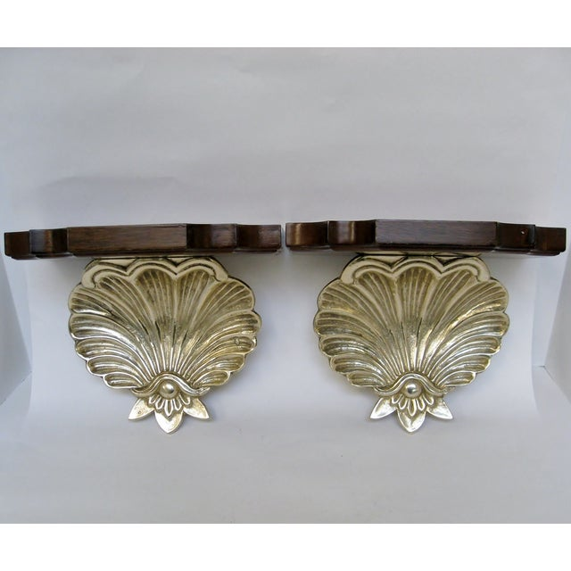 Brass & Wood Shell Shaped Wall Brackets - A Pair - Image 2 of 7