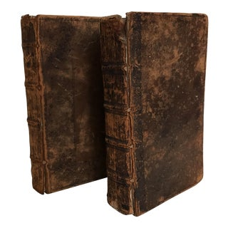 Late 17th Century English Leather Bound Books - a Pair For Sale