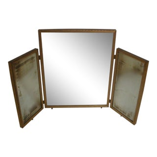 Brass Tri Fold Vanity Dressing Mirror For Sale