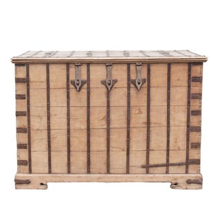 Oversize Iron Bound Teak Trunk For Sale