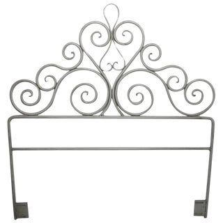 Pair Wrought Iron Scrollwork Headboards For Sale