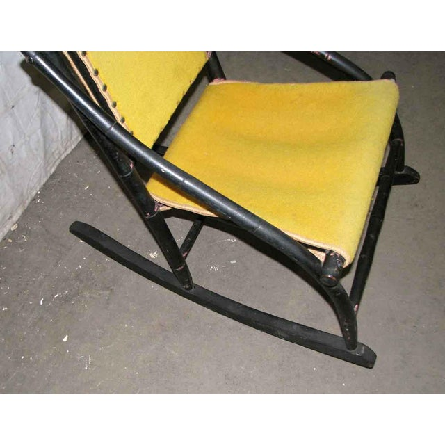 Victorian Rocker With Studded Yellow Upholstery For Sale - Image 4 of 9