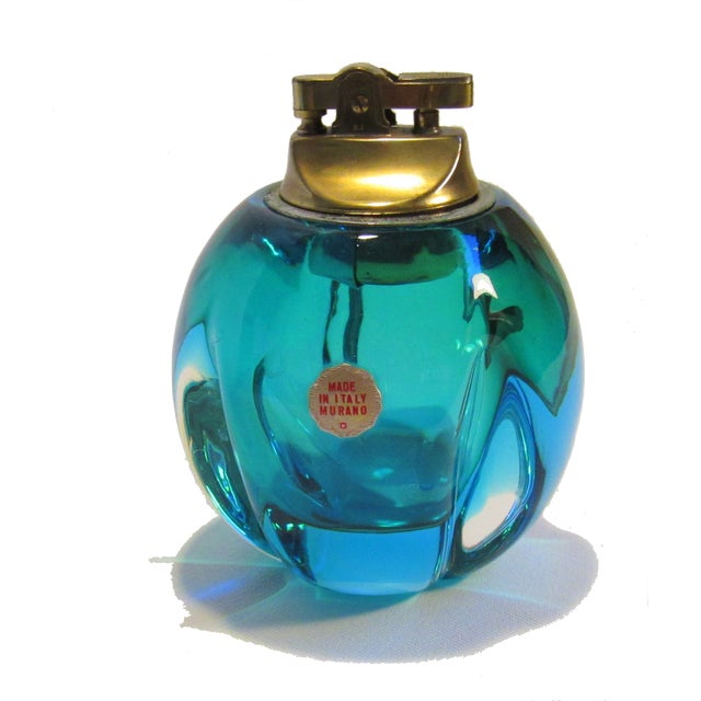 Mid-Century Murano Blue Green Glass Table Lighter - Image 2 of 5