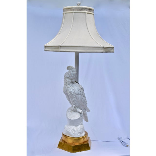 Figurative Blanc De Chine Cockatoo Table Lamp For Sale - Image 3 of 11
