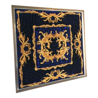 Vintage Gianni Versace DV Blue Animal Printed Velvet Stretch Fabric Large Wall Art For Sale