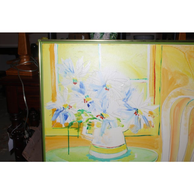 Paint Vintage Mid-Century Yellow Still Life Painting For Sale - Image 7 of 12