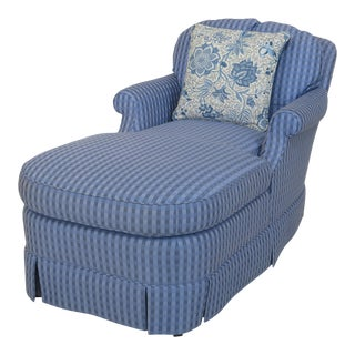 Baker Blue Upholstered Chaise Lounge Settee