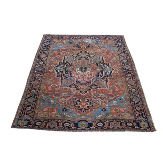 Antique All Wool Persian Heriz Rug - 8′5″ × 11′4″