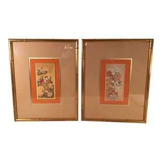 Vintage Japanese Wall Hangings in Gold Faux Bamboo Frames - a Pair For Sale