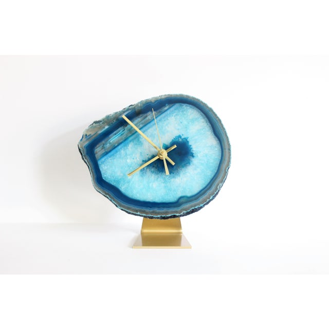 Agate Slice Teal Desk Clock - Image 2 of 6