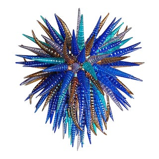 Myran Allen Luxury Lighting Modern Blue Mouth-Blown Murano Art Glass Chandelier in the Style of Dale Chihuahua For Sale