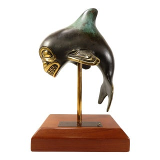"1989 ""Ocean Warrior"" Bronze Haida Killer Whale Orca Sculpture Signed Doug Hudson For Sale"