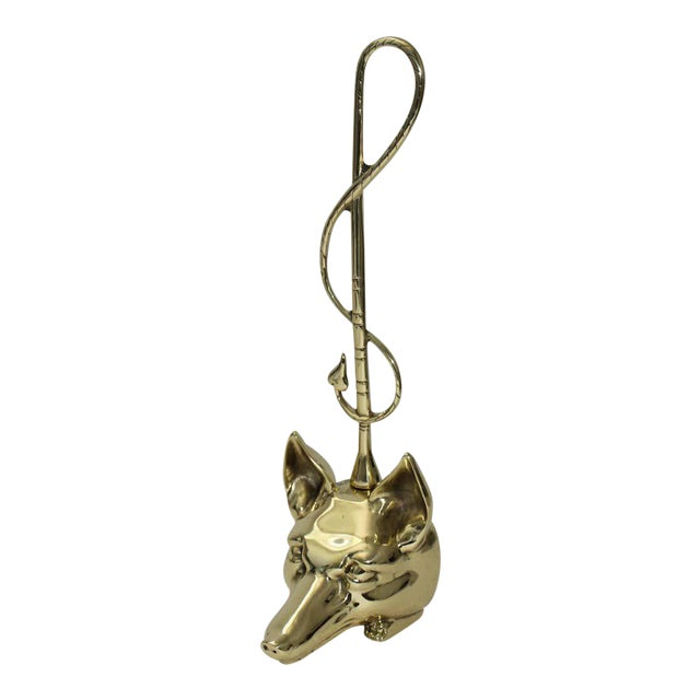 Edwardian Style Fox and Riding Crop Door Stop Polished Brass For Sale