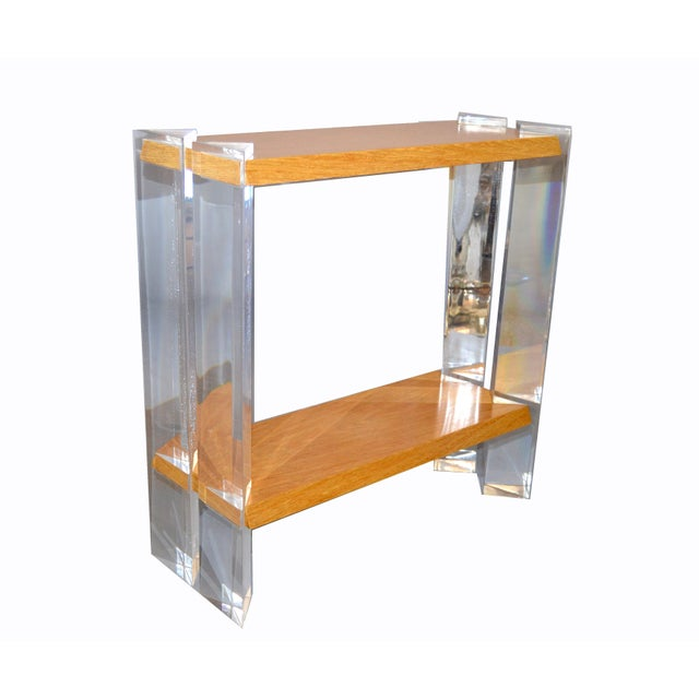Contemporary Italian Mid-Century Modern Oak & Acrylic Two Tier Console Table Bookshelf, 1960s For Sale - Image 3 of 13