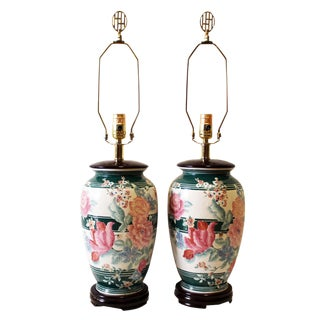 Pink White and Green Chinoiserie-Style Ceramic Floral Table Lamps - a Pair For Sale