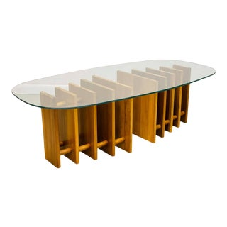 Mid Century Modern Oval Glass Coffee Table With Ribbed Walnut Base For Sale